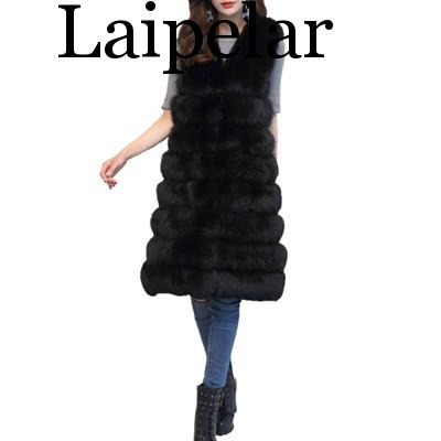 Laipelar Women's Long Section Sleeveless Faux Fur Vest Imitation Fox Fur Waistcoats Female Wild Fashion Autumn And Winter New