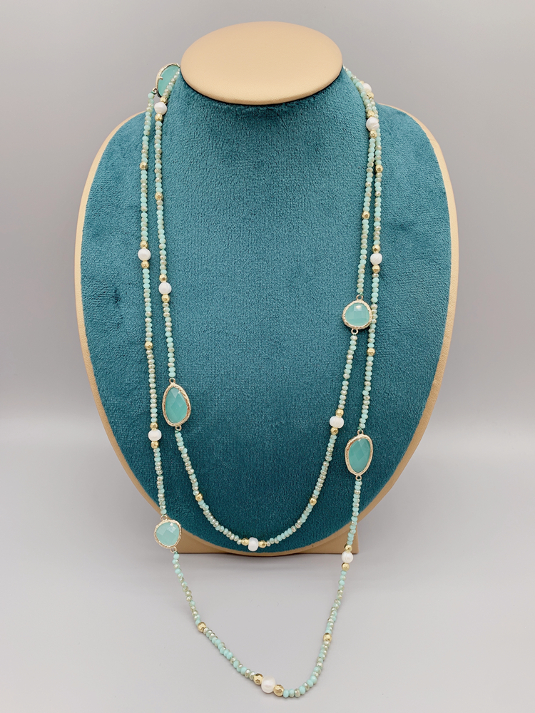 Faceted Cut Irregular Aqua Quartz Long Necklace With 5-6mm White Freshwater Pearls 2mm Crystals And Hammered Gold Beads 50 Inch