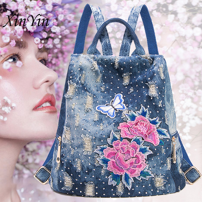 Anti-theft Travel Denim Big Backpack Casual Personality Women Flower Embroidery Bags School Jeans Backpack Teenager Plecak Sac