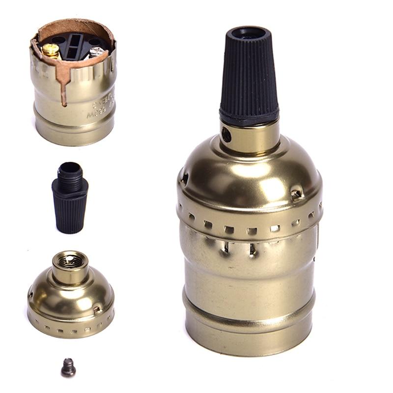 Vintage Lamp Base E27 Lamp Holder Aluminum Bar Retro Decorative Light Fittings LED Lamp Head Silver/Gold Light Socket