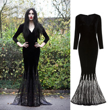 Gown Morticia Dress Witch-Costume Halloween Adult Gothic Ghost Women Horror Purim Lace