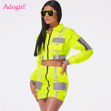 Adogirl Reflective Patchwork Women Two Piece Set Pockets Zipper Long Sleeve Jacket Crop Top Bodycon Mini Skirt Casual Suits