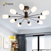 TRAZOS Modern Pendant Lights With Wood Black Glass Lampshade For Dining Room Bar Cord Hanging Light Restaurant Hanglamp free shipping ac90 260v avintage cord pendant lights clear glass lampshade edison bulb pendant lamp for dining room ktv bar