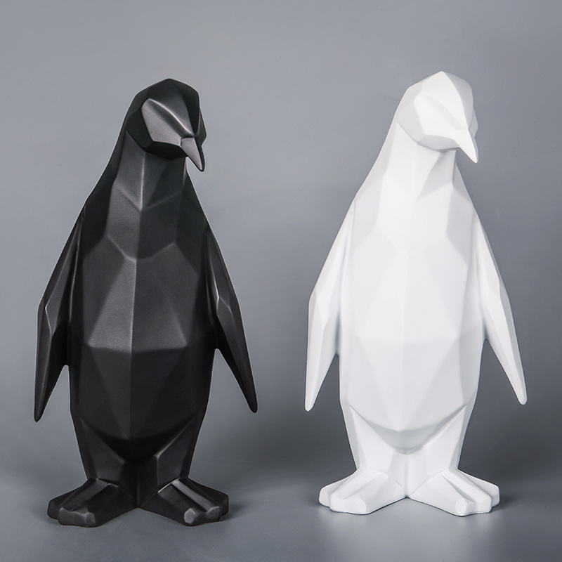 Penguin Resin Statue Nordic Figurine Creative Sculpture Geometric Statues For Decoration Animal Penguin Abstract Home Decor