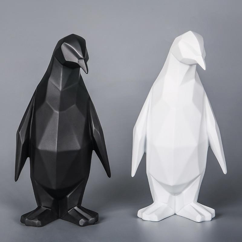 Penguin Resin Statue Nordic Figurine Creative Sculpture Geometric Statues for Decoration Animal Penguin Abstract Home Decor