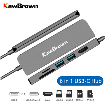 KawBrown Multi 6 in 1 USB Type-C Hub Type-C to 2 USB 3.0 interfaces Hub Support HDMI 4K TF/SD Card and PD Charging for Laptop orico aluminum hub type c to type a type c hdmi converter support pd multi function laptop station for macbook pc