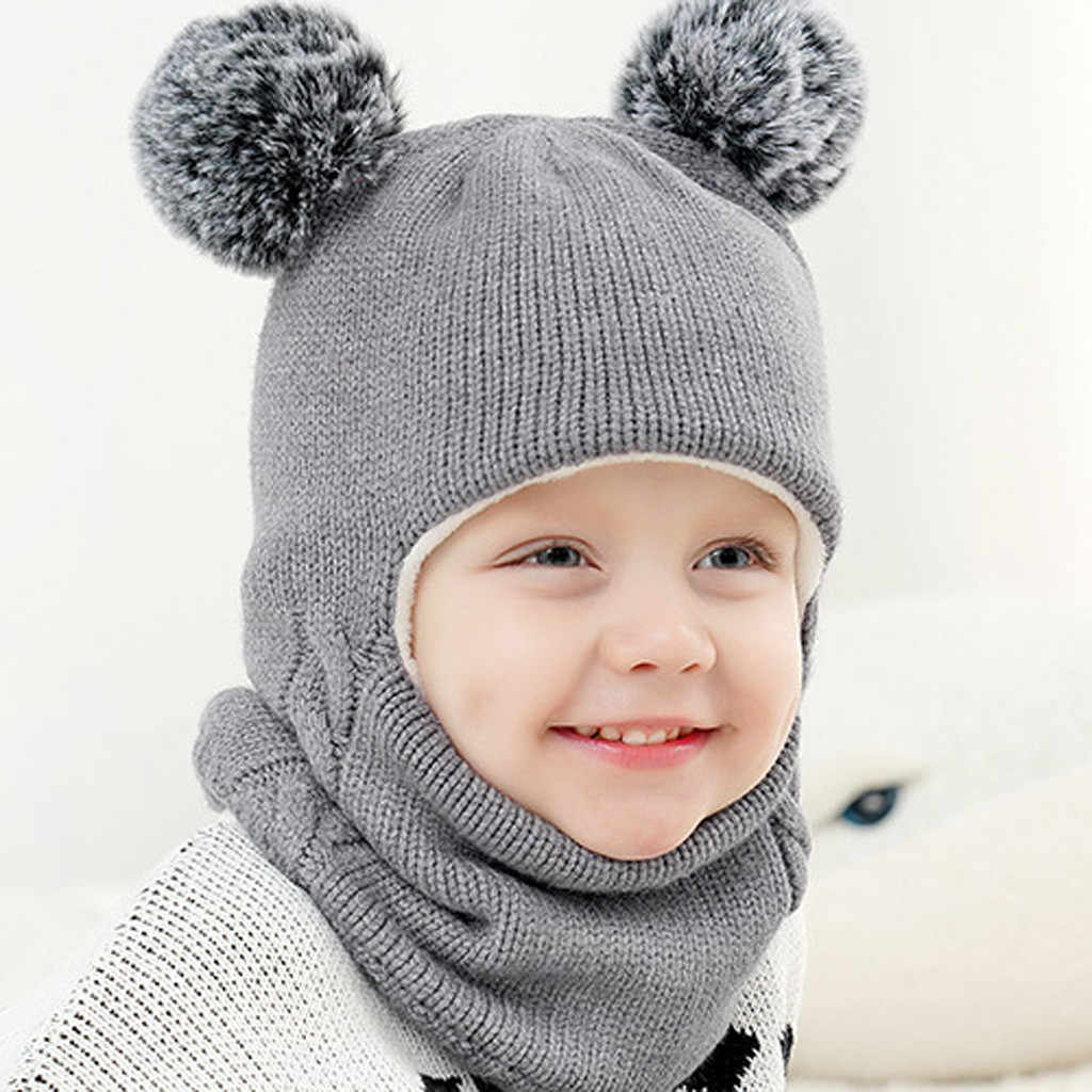 Kids Winter Hats Ears Girls Boys Children Warm Caps Scarf Set Baby Bonnet Scarves Enfant Knitted Cute Hat for Girl Boy Beanies