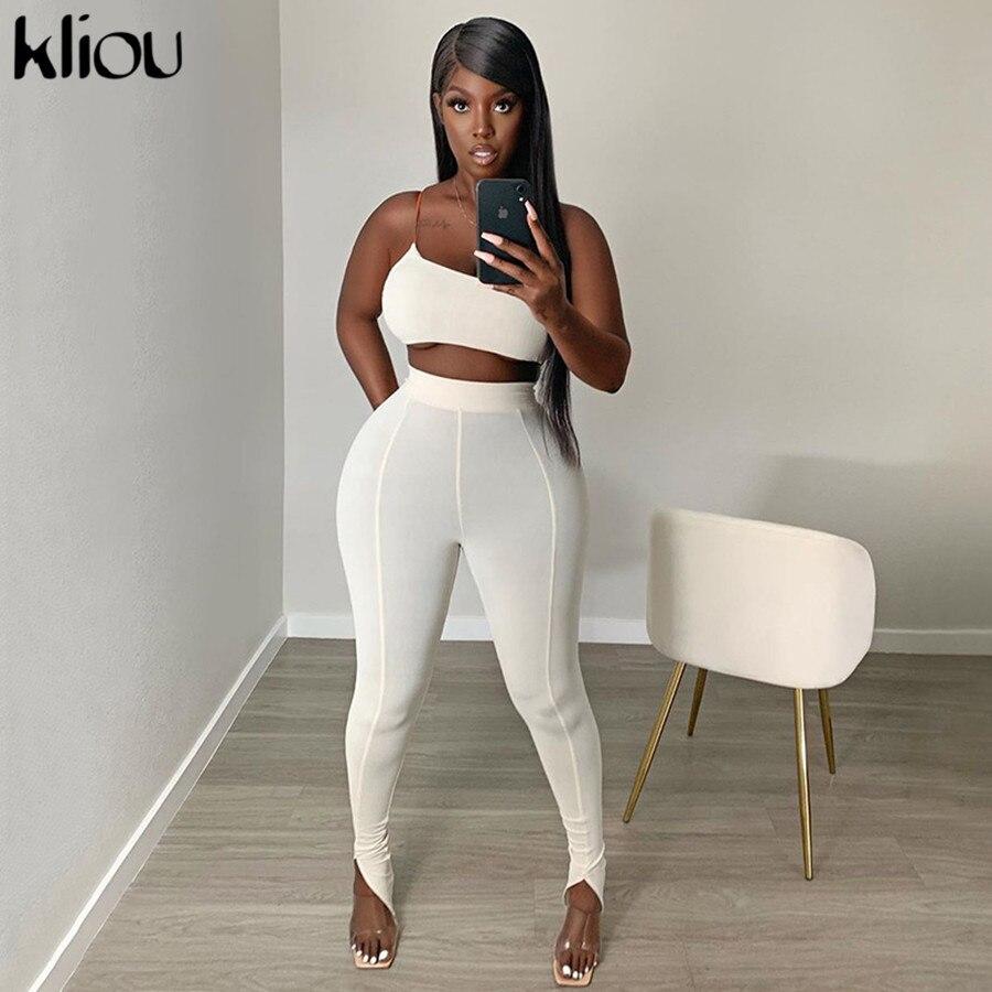 Kliou, chándal de un hombro para mujer, conjunto de dos piezas para fitness, sin mangas, cuello con ojal, top, pantalones elásticos, ropa de calle alta