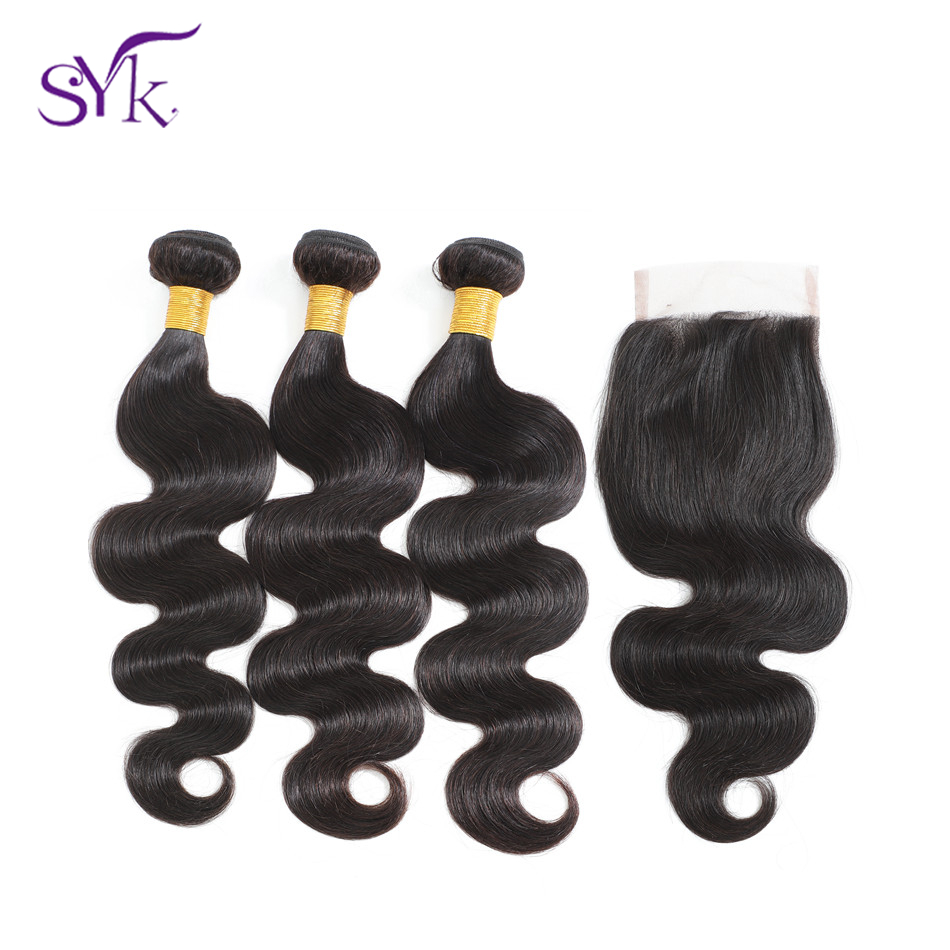 SYK Body Wave 3 Bundles With Closure Brazilian Hair Weave Bundles 100% Brazilian Non Remy Human Hair Bundles With Closure