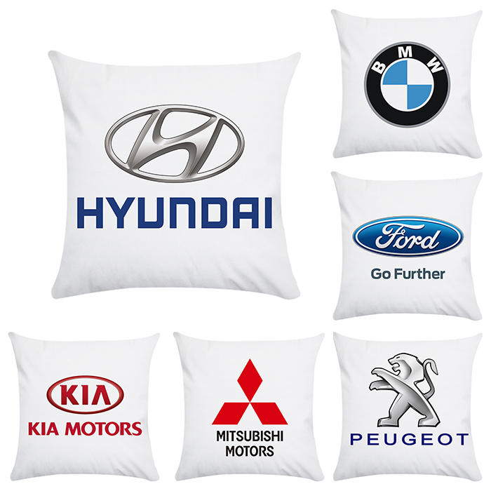 Various Styles Of Automotive Logo, BMW Modern Chevrolet And Other Pattern Pillowcases Suitable For Interior Decoration