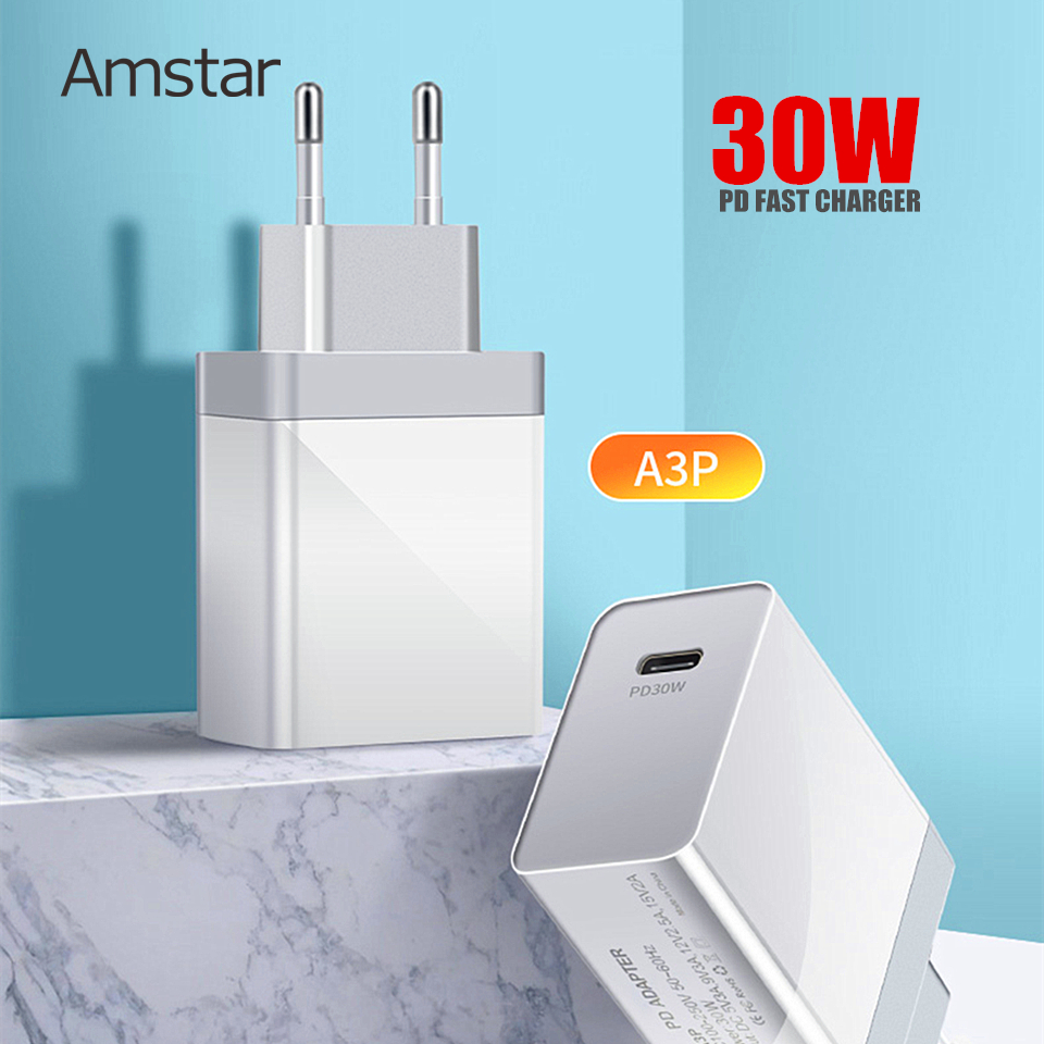 Amstar Quick Charge 4.0 3.0 QC PD <font><b>Charger</b></font> <font><b>30W</b></font> QC4.0 QC3.0 <font><b>USB</b></font> Type C Fast <font><b>Charger</b></font> for iPhone 11 X Xs 8 MacBook Xiaomi PD <font><b>Charger</b></font> image