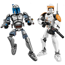 Star War Buildable Action Figure Building Block Kylo Ren Chewbacca Darth Vader Boba Jango Fett Stormtrooper Toys For children star wars jedi chewbacca building blocks han solo darth vader legoing figures jango fett obi wan models toys for children bk37