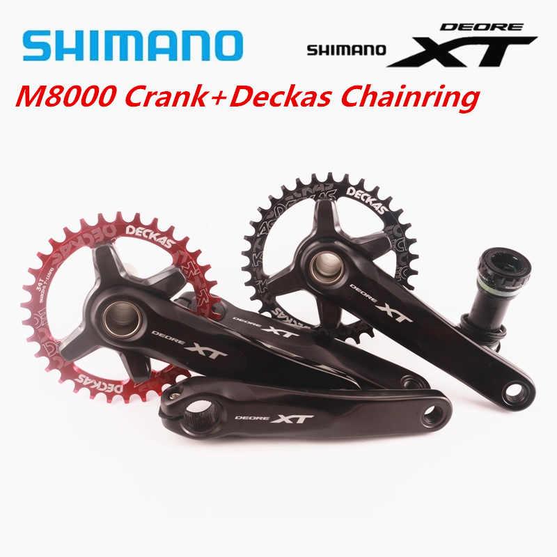 シマノ Deore XT M8000 クランクセットで 1 × 11 速度チェーンホイールクランク Deckas 96BCD 狭いワイドギア 32T 34T 36T 38T と MT800