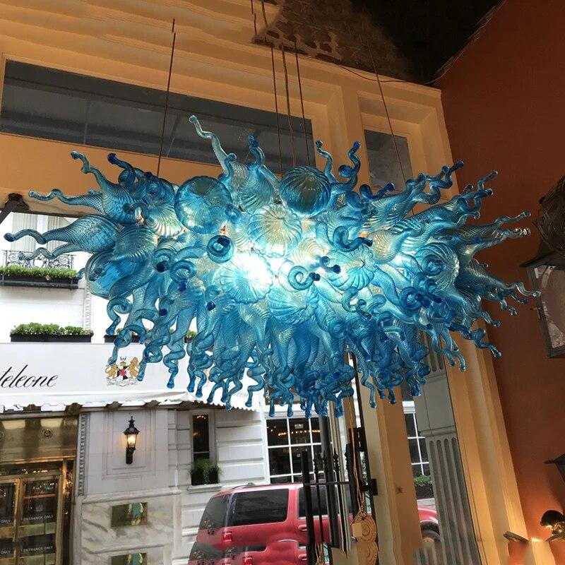 modern chandelier aqua blue indoor hanging light led lights hand blown glass chandelier lighting rectangle kitchen dining room