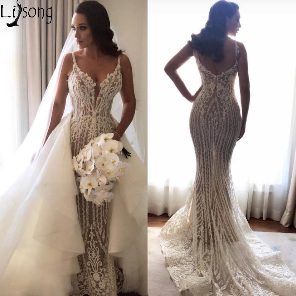 Gorgeous Beading Appliques Mermaid Wedding Dresses 2019 Sexy V-Neck Backless Long Bride Dress With Detachable Chapel Train