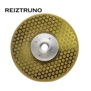 """Image 2 - REIZTRUNO 5"""" Double Sided Marble Diamond Blade with Quad Adapter Electroplated continuous Turbo Blade for cutting shaping marble"""
