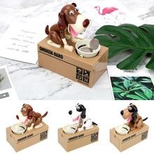 цена на Money Saving Box Creative Plastic Kids Gift Automated Money Boxes Electronic Piggy Banks Cartoon Robotic Dog Steal Coin Bank
