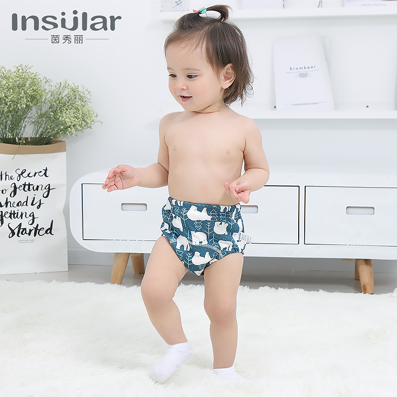 Insular 2 Packaged In The Shape Of Bars Pure Cotton Washable Baby Training Pants 6-Layer Gauze Diaper Pants Baby Products Cross