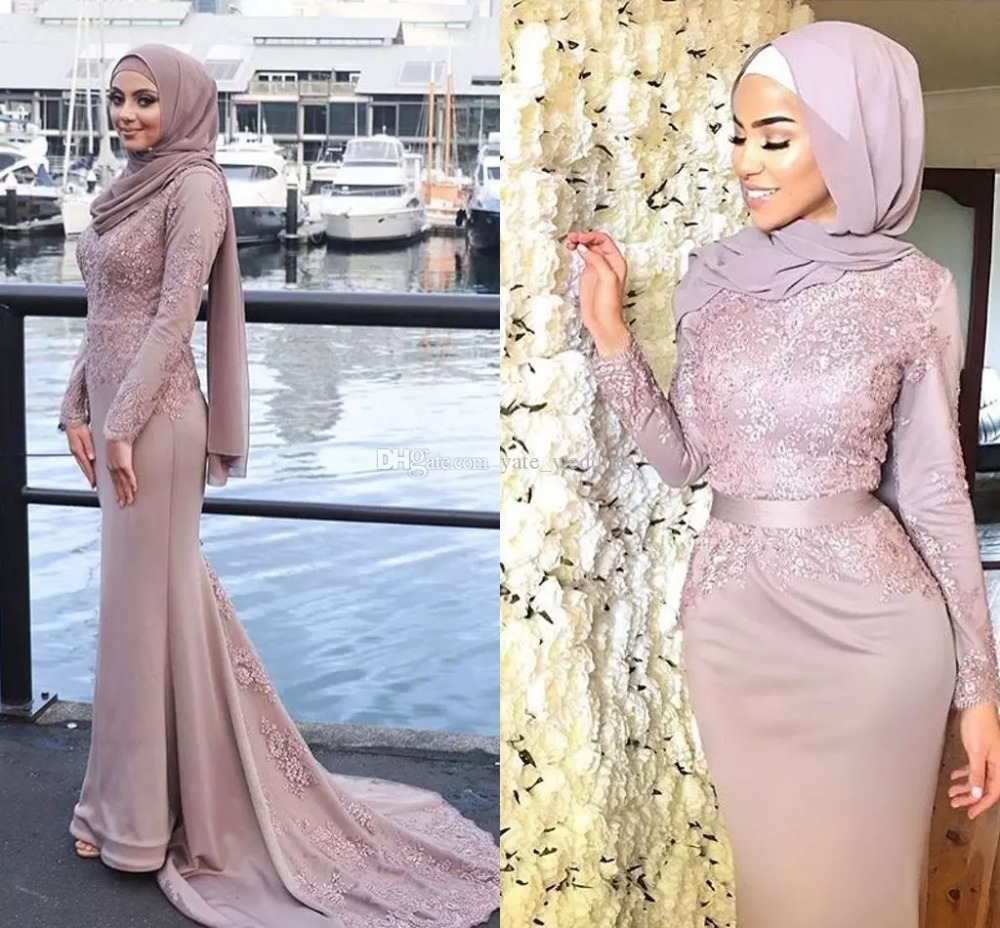 Dusty Pink Muslim Mermaid Evening Dress 2018 Robe De Soiree Appliques Long Sleeves Prom Formal Gown Mother Bride Lace Dresses