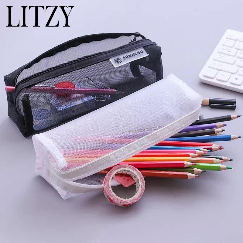 Black Student Pencil Case For School Transparent Nylon PencilCase Girl Mesh Pencil Bag Box Stationery School Supplies