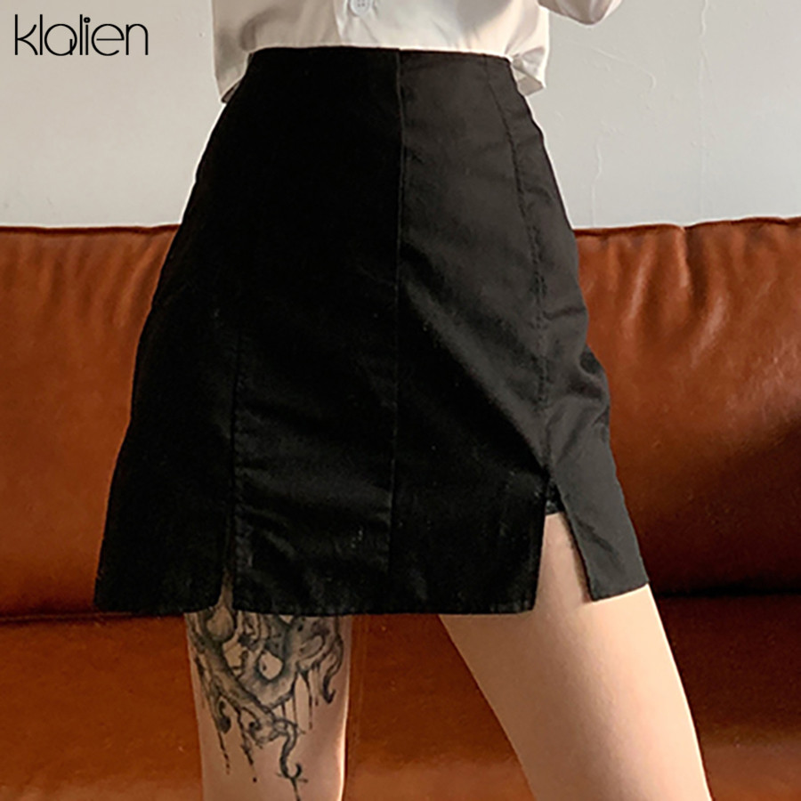 KLALIEN 2020 New Black Casual Street Office Lady Bodycon Slit Skirts Woman Spring Fashion Joker Mini Package Hip Skirts Mujer