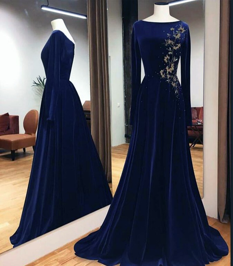 Arabic Plus Size Blue Prom Dresses 2020 Long Muslim Evening Formal Gowns Long Sleeves Women Formal Gala Party Dress