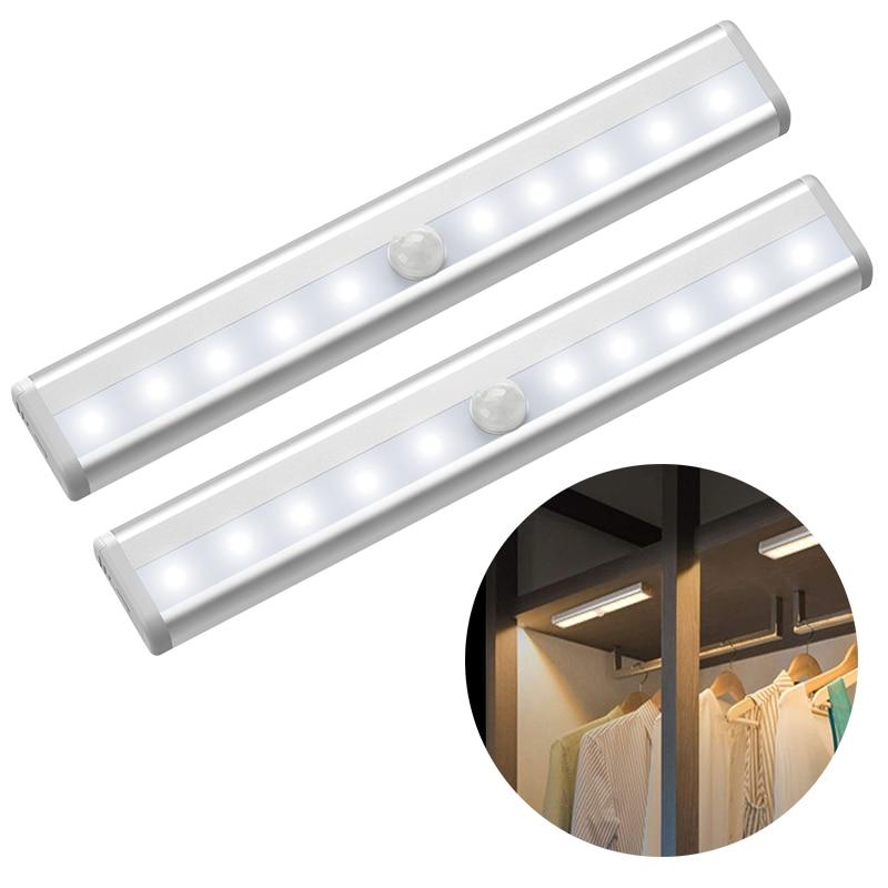6/10 leds pir led sensor de movimento luz armário armário cama lâmpada led sob armário luz da noite para armário escadas cozinha