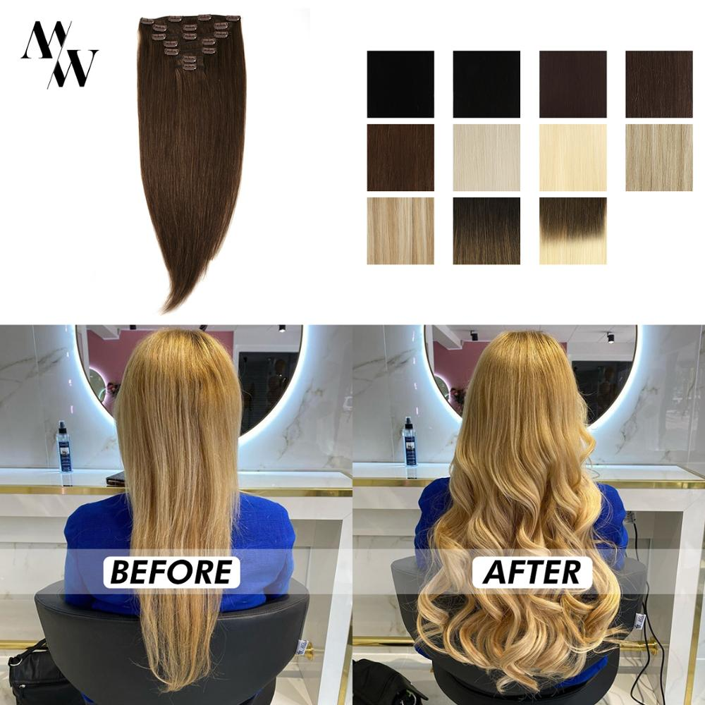 Hair-Extensions Human-Hair Remy-Clip Straight Black MW 20-24-Blond-Machine 7pcs-Set Natural