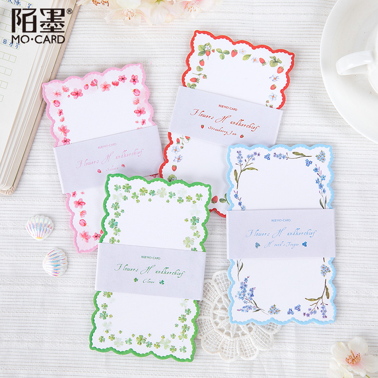 1set/lot Memo Pads Sticky Notes Flower Handkerchief Paper Diary Scrapbooking Stickers Office School Stationery Notepad