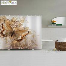 Golden Brown Elegant Butterfly Pattern Art Printed Bathroom Shower Curtain Modern Fashion Design Bath Room Bathtub Home Decor