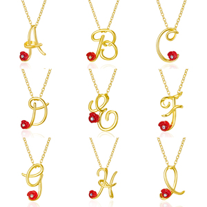 Gold Letter Red Rose Flower Letter Necklace Charm Rhinestone 26 Vintage English Alphabet Chokers Initial Letters Jewelry Gifts