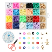 DIY Necklaces Bracelets Earring Round Clay Beads 24 Grids Set with Ropes Bead Kit Jewelry Making Home Handwork Metal Mix
