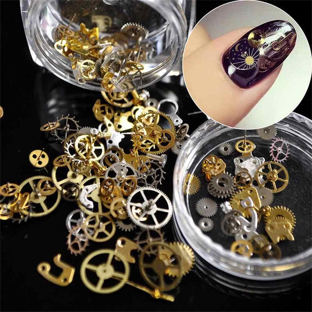 1 Kotak Fashion DIY Metalik Kuku Payet Warna Emas Hollow Komponen Mekanis Gear Wheel Nail Art Serpihan Manikur Dekorasi Tips