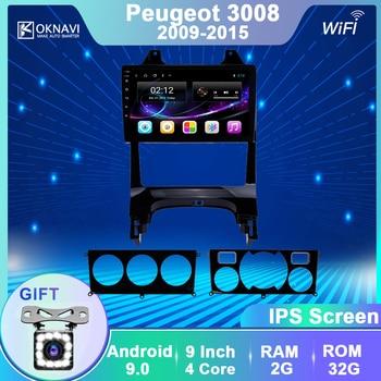 OKNAVI 2din Android 9.0 Car Multimedia Player For Peugeot 3008  2009-2015  Car Radio GPS Navigation WIFI IPS screen player dvd