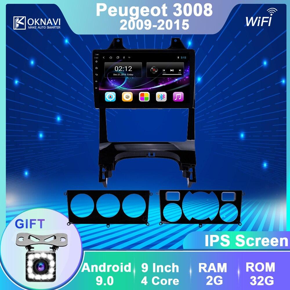 Oknavi android 9.0 reprodutor de multimídia do carro para peugeot-a 3008 2009 2010 2012 2013 2014 2015 rádio do carro gps navegação estéreo sem dvd