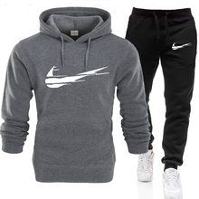 Eşofman erkek Hoodie takım elbise moda marka baskı sonbahar rahat Hoodie + pantolon erkek takım elbise spor iki parçalı erkek giysileri spor setleri