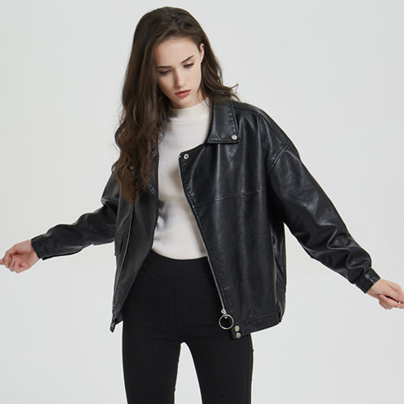 Casual Women Oversized Faux   Leather   Jacket Female Boyfriend Motor Autumn PU Coat Ladies Basic   Suede   Coat for Winter