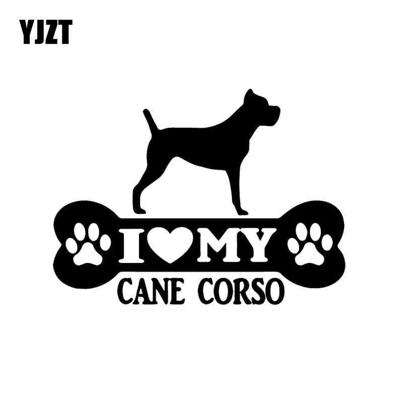 YJZT 14.9X11CM Funny Vinyl Decal I Love My Cane Corso Bone Car Sticker Mastiff Dog Black/Silver C24-1535