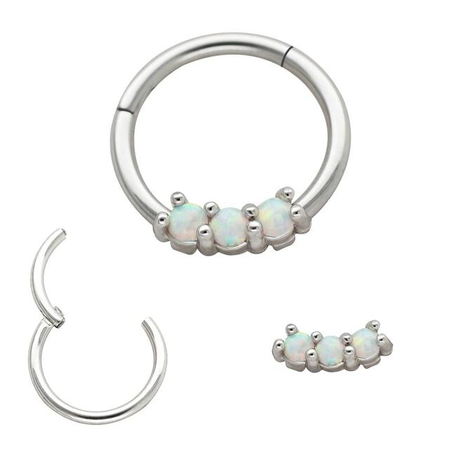 Musi Hot Fashion Nose Ring Detachable Opal Nose Hoop Septum Helix Cartilage Tragus Ring Surgical Ss Body Jewelry Piercing 16g Body Jewelry Aliexpress