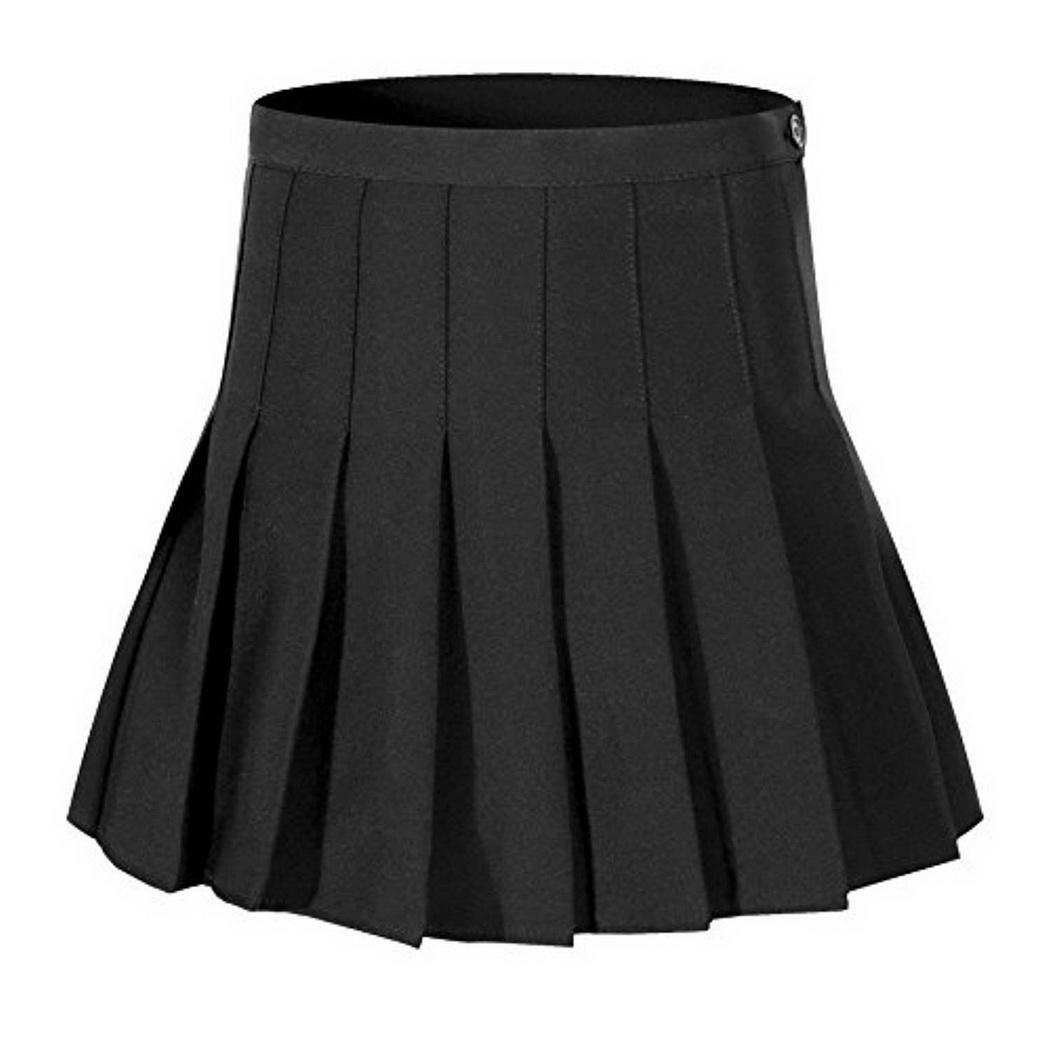 Women Casual Solid High Waist A-line Loose Above Knee, Summer Zipper Silhouette Mini Pleated Skirt