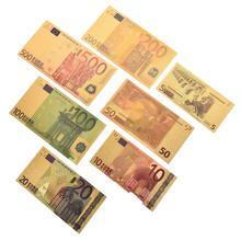 Notas de papel falsas de ouro eur em ouro 24k, 7 peças, 5 10, 20, 50, 100, 200, 500 conjunto de notas para coleção euro