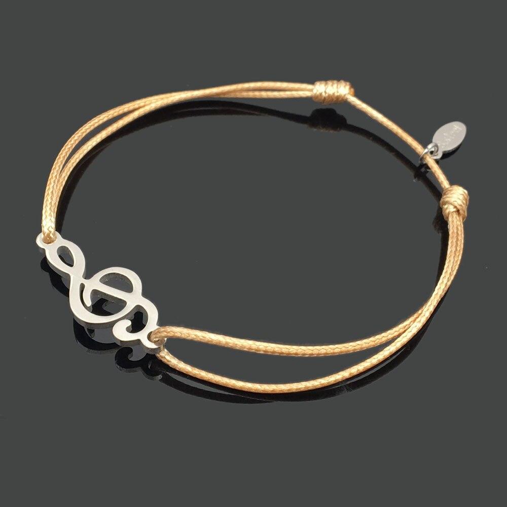2 шт браслет желаний из нержавеющей стали, регулируемый шнур, хороший браслет, приносящий удачу, красный браслет дружбы - Окраска металла: stainless music note