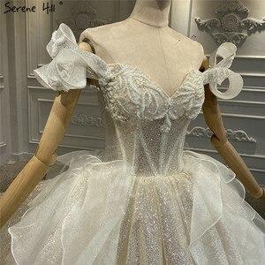 Image 5 - Szampana rocznika brokat luksusowe suknie ślubne 2020 Off ramię perły suknia ślubna spokojny Hill HA2315 Custom Made