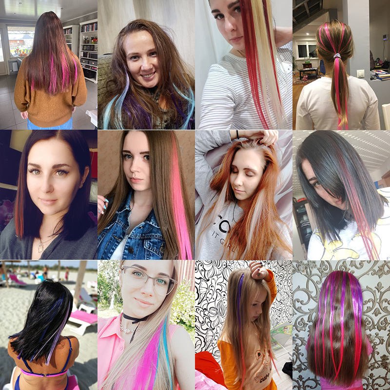 CHARMING Long Straight color Hair 20 inch Piece Hair Extensions Clip Rainbow Hair Streak Pink Synthetic Hair Strands on Clips 5