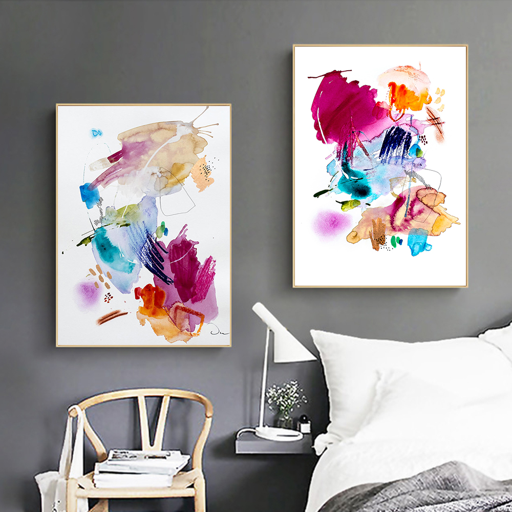 Unframed Modern Colorful Abstract Water