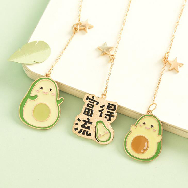 1 Pcs Kawaii Fruit Avocado Metal Pendant Plush Ball Bookmarks Book Marker Page Holder Stationery School Office Escolar Papelaria