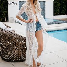 Siatkowa tunika plażowa koronkowa sukienka plażowa Maxi 2021 szata de Plage Pareo Sarong plażowy Kimono Kaftan plaża letnia damska długa sukienka koszulowa tanie tanio sunforyou CN (pochodzenie) Lato Poliester A-LINE Osób w wieku 18-35 lat V-neck Połowa Flare rękawem embroidery Czeski