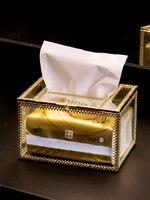 Creative Hotel Tissue Box Desk Organizer House Clear Simple Multifunction Gold Porta Living Room Tovaglioli Napkin Bag LL60TB