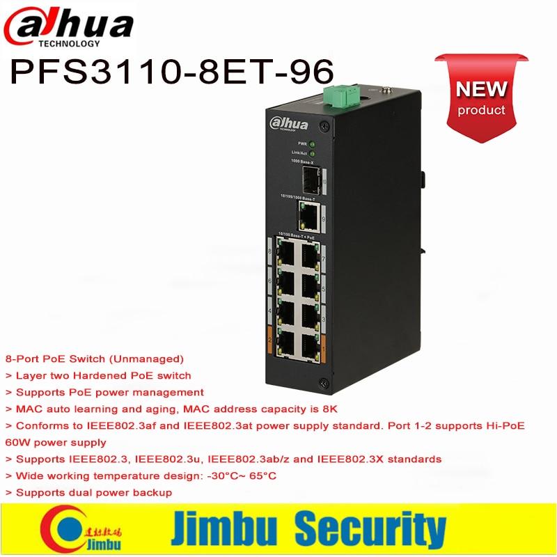 Dahua DH-PFS3110-8ET-96  8*10/100Mbps PoE Ports, 1*100/1000 Mbps Optical Port And 1*10/100/1000Mbps Ethernet Uplink Port