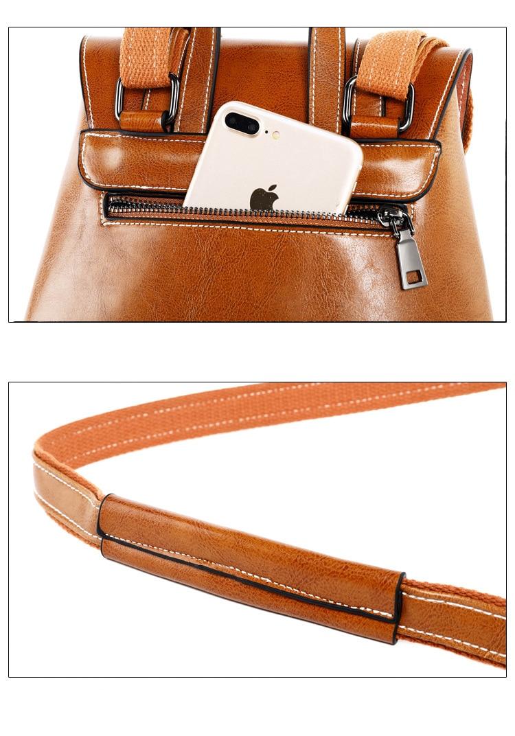 Fashion Oil Wax Cowhide Backpack Women School Daypack Cross Body Shoulder Bags Grils Genuine Leather Rucksack Travel Knapsack